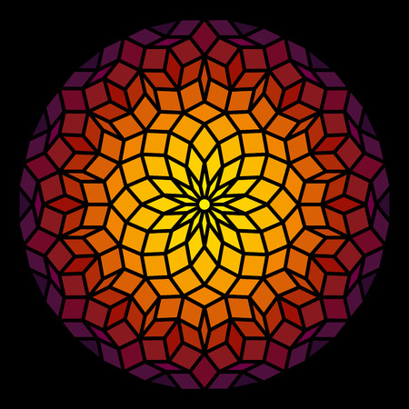 Illustration pour Penrose Leadlight in form of a Penrose pattern - a specific geometric figure in mathematics  - image libre de droit