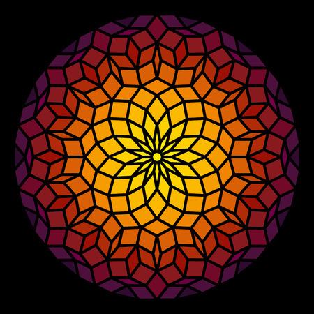 Ilustración de Penrose Leadlight in form of a Penrose pattern - a specific geometric figure in mathematics  - Imagen libre de derechos