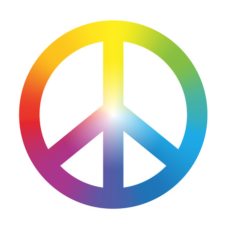 Ilustración de Peace symbol with circular rainbow gradient coloring  Isolated vector illustration on white background  - Imagen libre de derechos