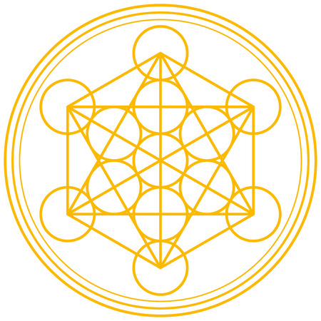 Illustration pour Metatron Cube Gold - Metatrons Cube and Merkaba derived from the Flower of Life, an ancient symbol  - image libre de droit