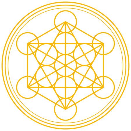 Ilustración de Metatron Cube Gold - Metatrons Cube and Merkaba derived from the Flower of Life, an ancient symbol  - Imagen libre de derechos