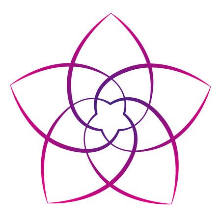 Ilustración de Pink flower of the venus, symbol of love and harmony. Isolated vector illustration on white background. - Imagen libre de derechos