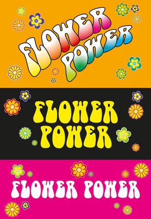 Ilustración de Flower Power Lettering - Three variations Flower Power lettering. Template with floral symbols on orange, black and pink background. Illustration. - Imagen libre de derechos