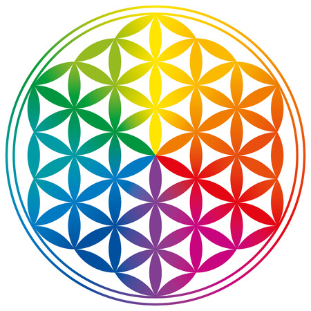 Ilustración de Flower of Life with rainbow color gradients. Circles are forming a flower-like pattern. A spiritual symbol since ancient times and Sacred Geometry. - Imagen libre de derechos