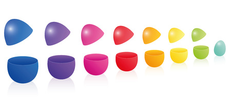 Easter eggs forming a rainbow colored line like the popular russian doll nesting game matryoshka. Three-dimensional isolated vector illustration on white background.