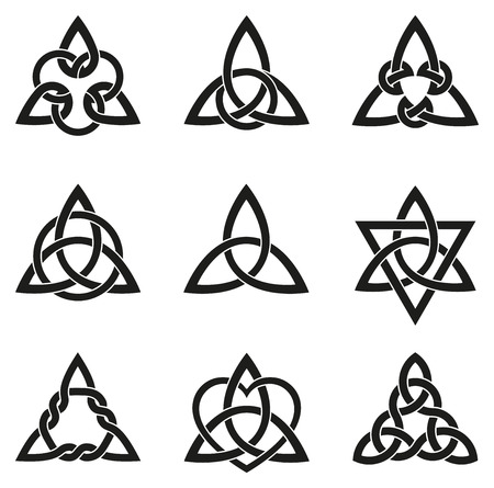 Illustration pour A variety of celtic knots used for decoration or tattoos. Nine endless basket weave knots. These knots are most known for their adaptation for use in the ornamentation of Christian monuments and manuscripts. - image libre de droit