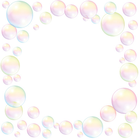 Illustration pour Soap bubbles with empty space to fill in any text or image. Isolated vector illustration on white background. - image libre de droit