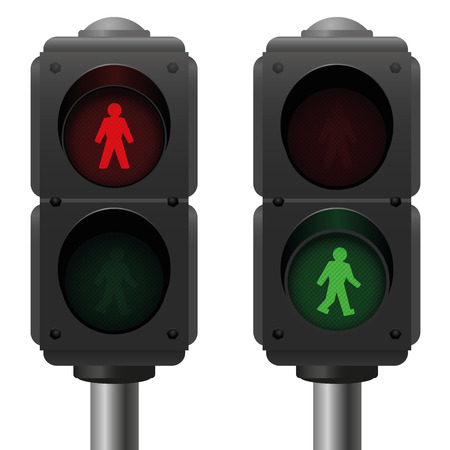 Pedestrian lights  one traffic light is red and one is green. Isolated vector illustration over white background.