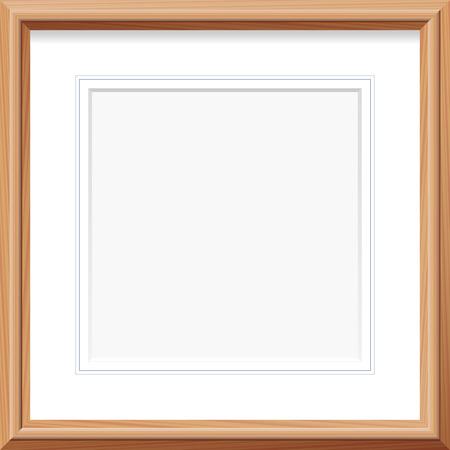 Ilustración de Wooden frame with square mat and french lines. Vector illustration. - Imagen libre de derechos