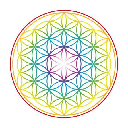 Ilustración de Flower of Life shown as an gently glowing rainbow colored symbol of harmony. Isolated illustration on white background. - Imagen libre de derechos