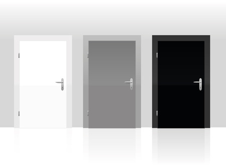 Illustration pour Three doors to choose - white, gray or black. Vector illustration. - image libre de droit