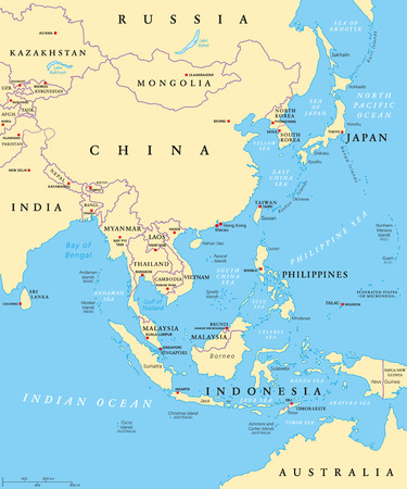 Illustration pour East Asia political map with capitals and national borders. Eastern subregion of Asian continent. China, Mongolia, Indonesia, Philippines, Malaysia, Japan. Illustration with English labeling. Vector. - image libre de droit