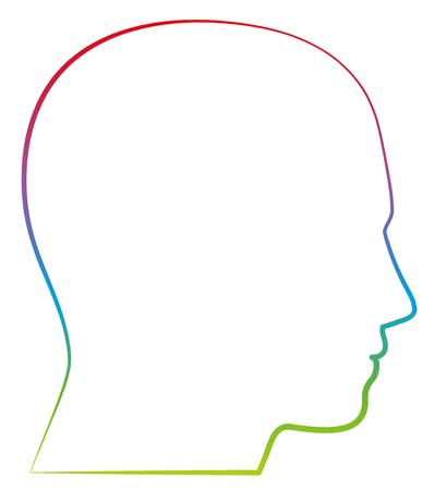 Illustration pour Head, profile view - colored outline vector illustration on white background. - image libre de droit