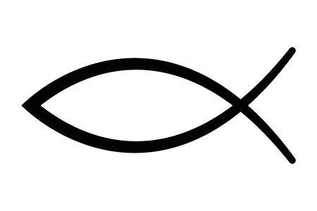 Illustration pour Sign of the fish, a symbol of Christian art, also known as Jesus fish. Symbol consisting of two intersecting arcs. Also called ichthys or ichthus, the Greek word for fish. Black illustration. Vector. - image libre de droit