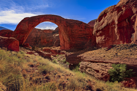 Photo for Beautiful rock formation in Glen Canyon near Lake Powell, Utah. Rocks formed unbelievable bridge called Rainbow Bridge National Monument. - Royalty Free Image
