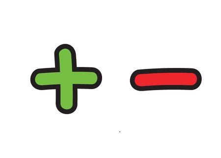 Illustration pour Plus and minus vector icon set. Add and subtract doodle illustration - image libre de droit