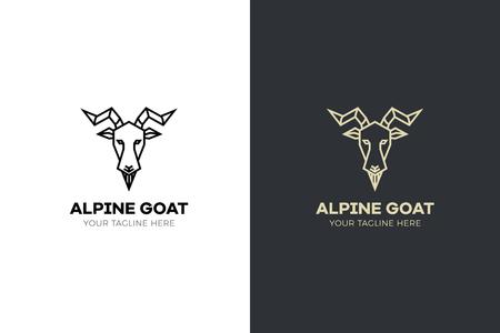 Ilustración de Stylized geometric Goat head illustration. Vector icon design - Imagen libre de derechos