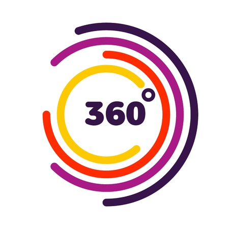 Illustration for 360 degrees view Related Vector graphic, Modern style with colorful circle lines - Royalty Free Image