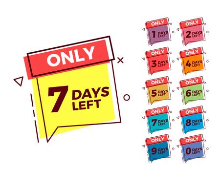 Illustration pour Vector geometric bubble shape tags on different colors with number of days left - image libre de droit