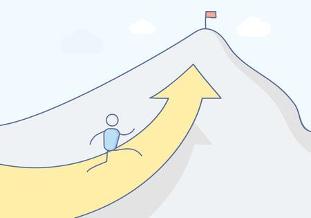 Illustration pour Cartoon stickman character climbing the mountain towards its peak where a flag stands symbolizing success. Vector concept illustration design in eps10 - image libre de droit