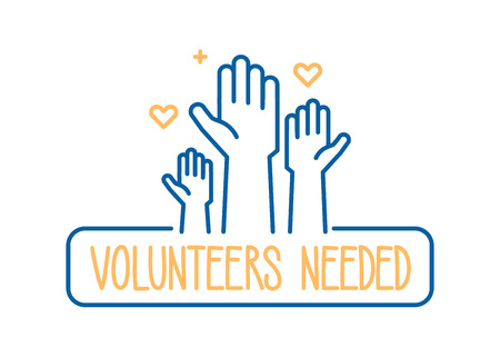 Illustration pour Volunteers needed banner design. Vector illustration for charity, volunteer work, community assistance. Crowd of people ready and available to help and contribute with hands raised. Positive foundation, business, service - image libre de droit