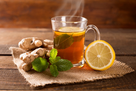 Photo for ginger tea with mint and lemon - Royalty Free Image