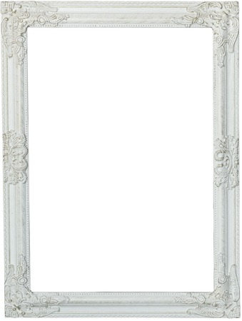 Photo pour Picture frame, painted white. Isolated patch and over white background - image libre de droit