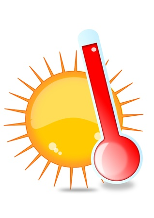 Illustration pour Sun and thermometer - image libre de droit