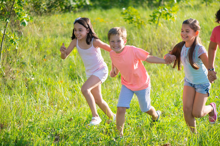 Photo for Group of happy children playing on meadow - Royalty Free Image