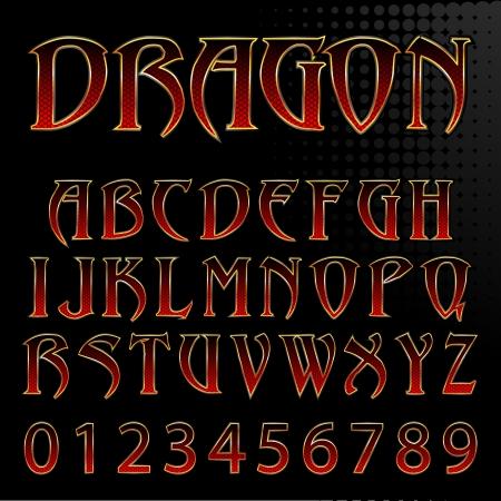 Ilustración de Abstract Vector Illustration Of A Dragon Style Font - Imagen libre de derechos
