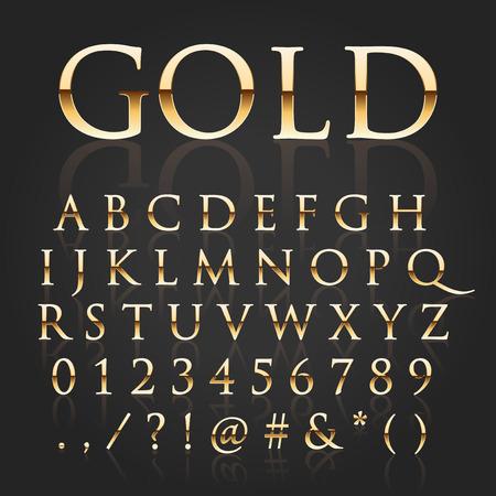 Ilustración de Vector shiny gold letters - Imagen libre de derechos