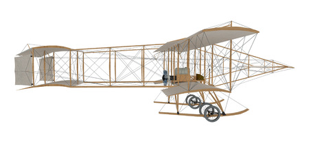Photo for inventor first airplane isolated on white. 3d rendering - Royalty Free Image