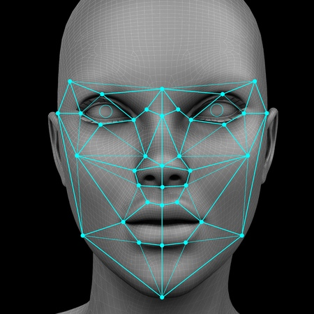 Photo for biometric facial recognition without hair. 3d rendering - Royalty Free Image