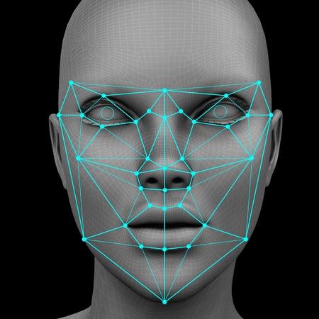 Foto de biometric facial recognition without hair. 3d rendering - Imagen libre de derechos