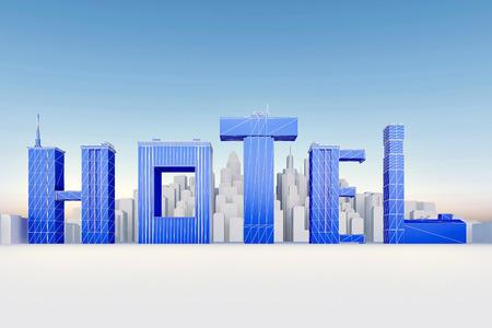Photo pour Letters Hotels form buildings before of city. 3d rendering - image libre de droit