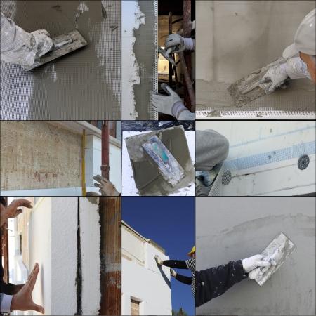 Photo pour Collage construction site - Installing external insulation Facade therm - image libre de droit