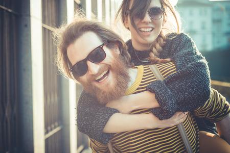 Foto de young modern stylish couple urban city outdoors - Imagen libre de derechos