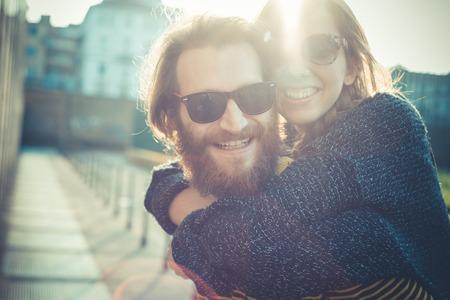 Photo pour young modern stylish couple urban city outdoors - image libre de droit