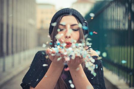 Foto de young beautiful brunette woman girl outdoor - Imagen libre de derechos
