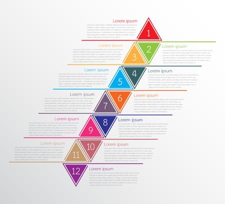 Ilustración de A Vector infographic templates used for detailed reports. All 12 topics. - Imagen libre de derechos