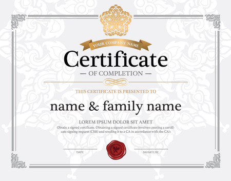 Illustrazione per certificate design template. - Immagini Royalty Free