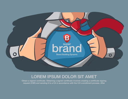 Illustration pour Hero Business supper brand message present on the chest. - image libre de droit