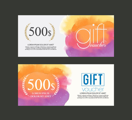 Illustrazione per gift voucher watercolour . - Immagini Royalty Free
