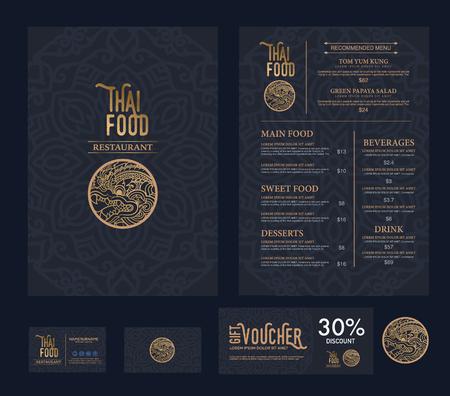 Illustration for vector thai food restaurant menu template. - Royalty Free Image