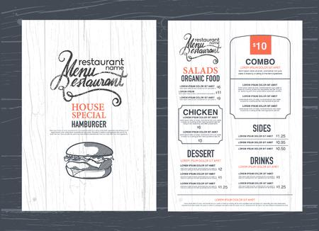 Illustration pour vintage restaurant menu design and wood texture background. - image libre de droit
