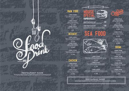 Illustration pour Restaurant cafe menu, brick wall background and texture template. - image libre de droit