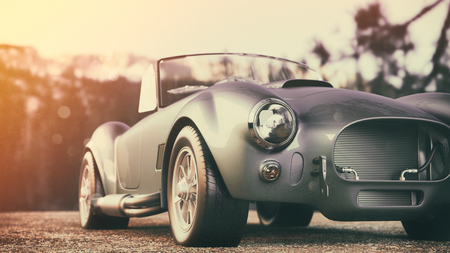Photo pour Classic car parked in the mountains in the morning. 3d render and illustration. - image libre de droit
