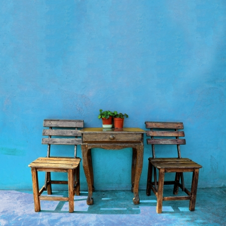 old vintage wooden chair and table