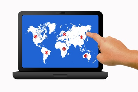 Hand holding laptop with social map