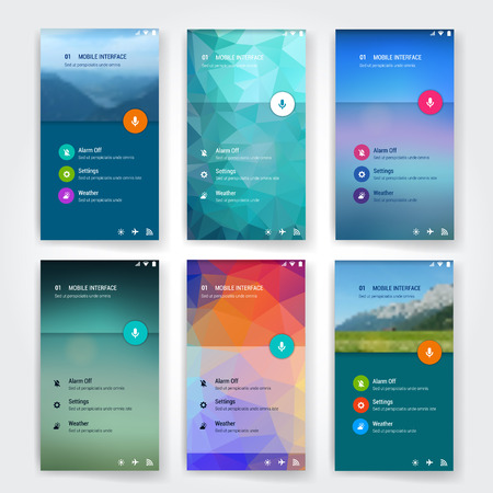 Illustration pour Modern flat user interface screen template for mobile smart phone or web site. Transparent blurred material design UI with icons. - image libre de droit